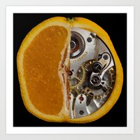 clockwork orange Art Prints featuring Clockwork Orange by Cornish Seascapes