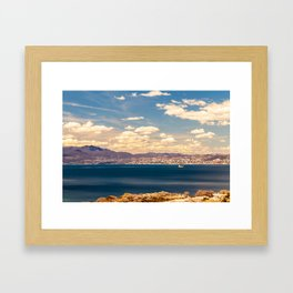 Sunny day view from Krk island to the gulf of Rijeka Framed Art Print
