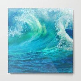 Summer Neck Gator Blue Waves Metal Print
