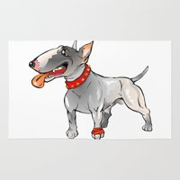 bull terrier Area & Throw Rugs featuring Bull Terrier by Paola Canti