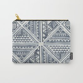 Simply Tribal Tile in Indigo Blue on Lunar Gray Carry-All Pouch