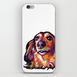 Dachshund Fun Dog Portait bright colorful Pop Art Painting by LEA iPhone Skin