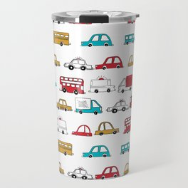 Cars trucks buses city highway transportation illustration cute kids room gifts Travel Mug