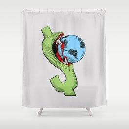 Greedy Dollar Carlos Latuff Anti Capitalism Artwork Shower Curtain