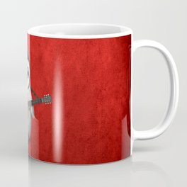 Musical Baby Penguin Playing Acoustic Guitar on Deep Red Coffee Mug