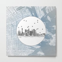 Sydney, New South Wales, Australia City Skyline Illustration Drawing Metal Print