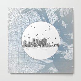 Sydney, New South Wales, Australia City Skyline Illustration Drawing Metal Print