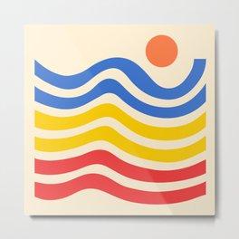 Colorful Sun and Seascape Metal Print