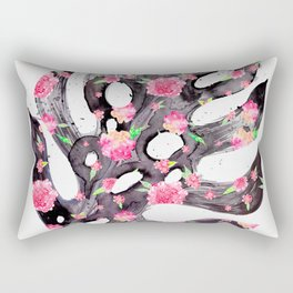 Tropical Leaf - Philodendron Black Pink Rectangular Pillow