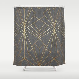 Art Deco in Textured Grey - Large Scale Shower Curtain