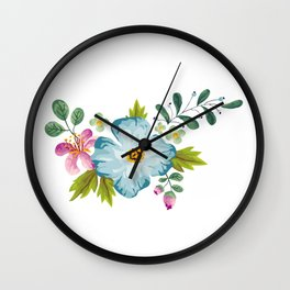 Bouquet Viola - Violet, Green AND Blue Flower Pimpernel Wall Clock