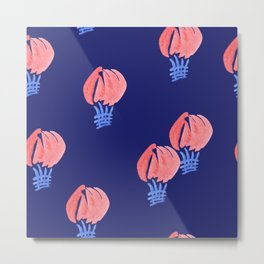 Air Balloon Pattern on Midnight Blue Metal Print