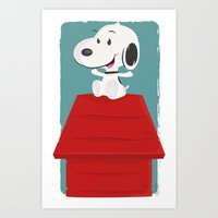 snoopy Art Prints featuring Snoopy by Sour Pickle