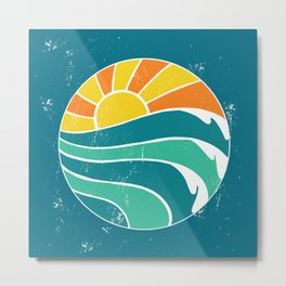 Summer Sunrise Beach - Distressed Teal Minimalism Metal Print
