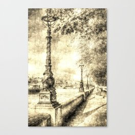 River Thames Path Vintage Canvas Print
