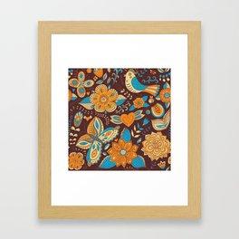 Floral Khokhloma pattern Framed Art Print