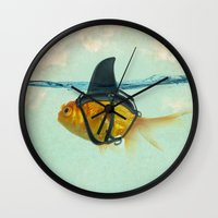 aqua Wall Clocks featuring Brilliant DISGUISE by Vin Zzep