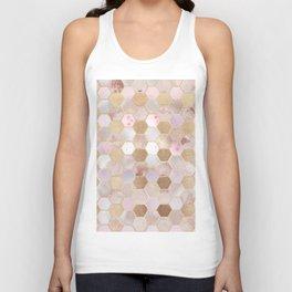 Hexagonal Honeycomb Marble Rose Gold Unisex Tank Top