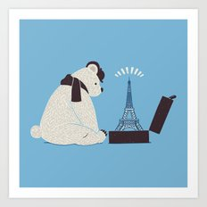 Traveler Tourist Eiffel Tower Bear Paris Art Print