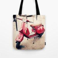 vespa Tote Bags featuring vespa by iokk