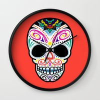 mexican Wall Clocks featuring Mexican Skull by Blank & Vøid