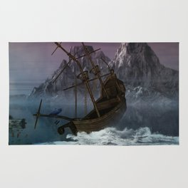 Awesome shipwreck in the night Rug