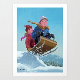 children snow sleigh ride Art Print