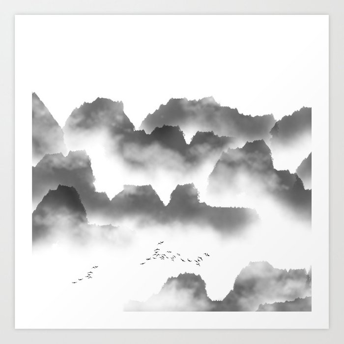 Abstract landscape misty mountain range black and white mural art print
