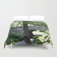 central park Duvet Covers featuring Central Park in Summer by T. Peters