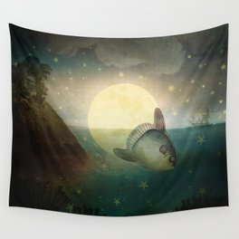 The Fish That Stole The Moon Wall Tapestry
