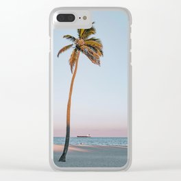 palm tree & sunset Clear iPhone Case