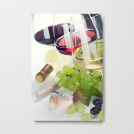 Glasses of white, red and rose wine and grapes over white Metal Print