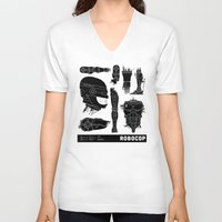 robocop V-neck T-shirts featuring Decommissioned: Robocop by Josh Ln