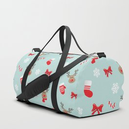Merry christmas and happy new year mitterns, bells and socks holiday pattern Duffle Bag