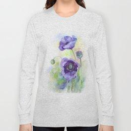 Watercolor blue poppy flowers Long Sleeve T-shirt