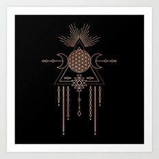 Mandala Flower of Life Rose Gold Pink Art Print