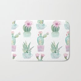 Simply Echeveria Cactus in Pastel Cactus Green and Pink Bath Mat