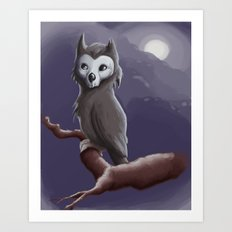 Skull Owl  Art Print