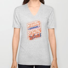 Strong Woman Strong World Unisex V-Neck