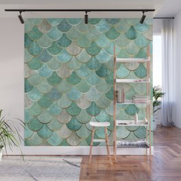 Moroccan Mermaid Fish Scale Pattern, Green and Gold Wall Mural