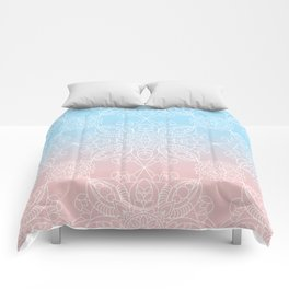 Pastel Dreams Mandala on Blue and Pink Linen Comforters