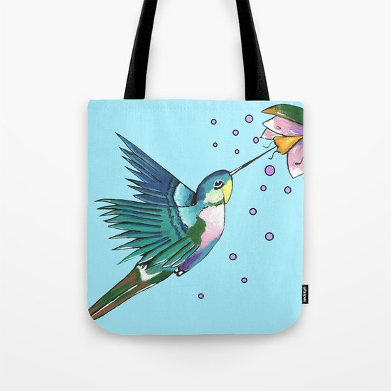 Hummingbird Blue Tote Bag