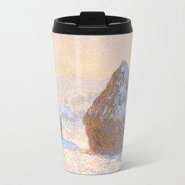 Monet - Wheatstacks, Snow Effect, Morning, 1891 Travel Mug