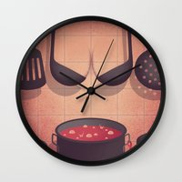 boobs Wall Clocks featuring Boobs Kitchen by Davide Bonazzi