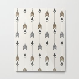 Vertical Arrow Patterns - Cream and Neutral Earth Tones Metal Print