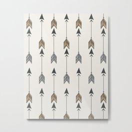 Vertical Arrow Patterns - Cream and Neutral Earth Tones Metal Print