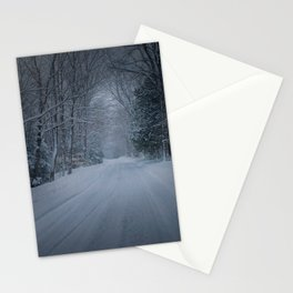 Lonely Winter Road Stationery Cards