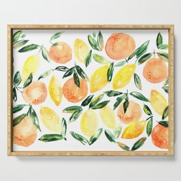Sicilian orchard: lemons and oranges in watercolor, summer citrus Serving Tray