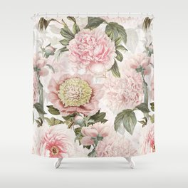 Vintage & Shabby Chic - Antique Pink Peony Flowers Garden Shower Curtain