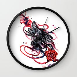 Howling Wolf and Rose Wall Clock